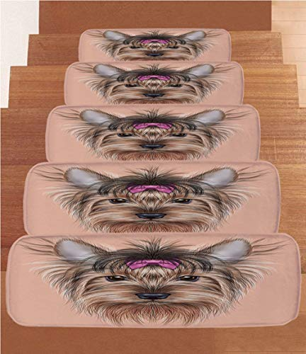 iPrint Non-Slip Carpets Stair Treads,Yorkie,Realistic Computer Drawn Image of Yorkshire Terrier with Cute Ribbon Animal Decorative,Salmon Light Brown,(Set of 5) 8.6''x27.5'' by iPrint