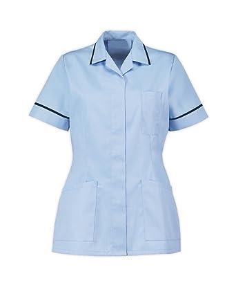 6e7d4216937 Instex Womens Nurses Healthcare Tunic, Dental Vet Salon, Sky Blue with Navy  Trim, Pointed Collar INS32SK-N: Amazon.co.uk: Clothing