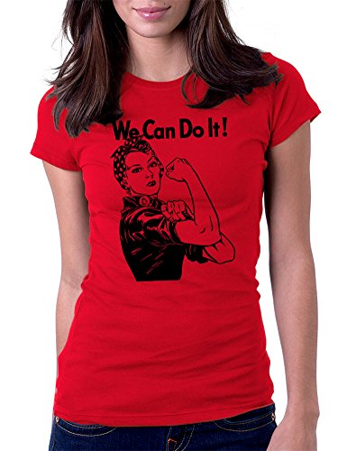 We Can Do It! Rosie the Riveter - Womens Tee T-Shirt, XL, Red