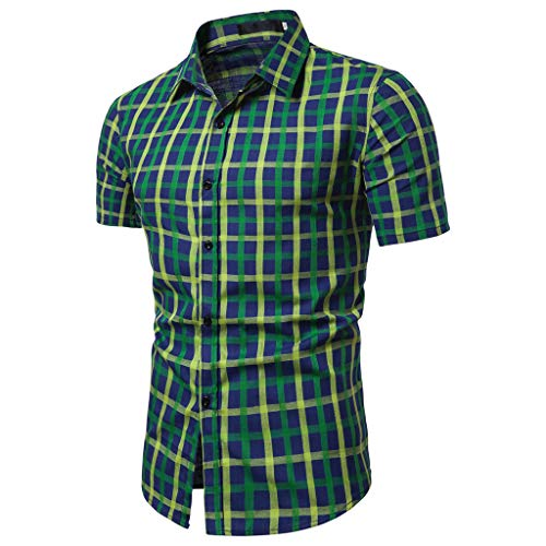 - Rakkiss_Men Shirts Fashion Solid Plaid Printed Business Tops Button Short Sleeve Slim Fit Tee Casual Summer Blouse Green