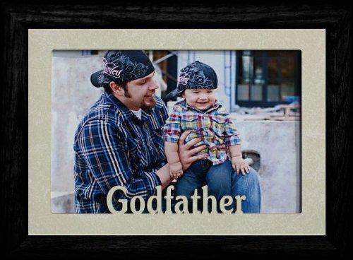 - 5x7 JUMBO ~ GODFATHER ~ Landscape Picture Frame ~ Laser Cream Marble Mat with BLACK Solid Oak Frame