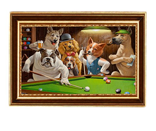 Eliteart-Dogs Playing Pool Billiard Artisan by Cassius Marcellus Coolidge Oil Painting Reproduction Giclee Wall Art Canvas Prints-Framed Size:21
