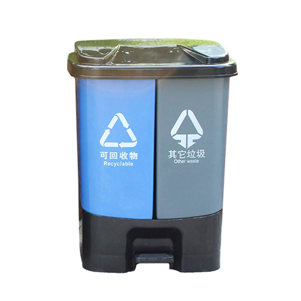 CSQ Plastic Trash Can, 30L/40L/50L Pedal-Type Trash Can, Supermarket Mall Office Trash Can Indoor