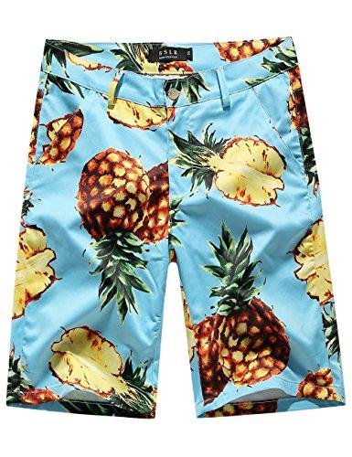 SSLR Men's Pineapples Aloha Flat Front Casual Hawaiian Shorts (34, - Aloha Short