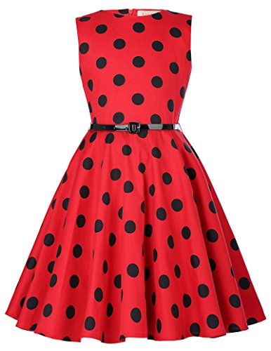 Girls Sleeveless Dot Vintage Casual Dresses 9-10yrs,Red and Black Dots
