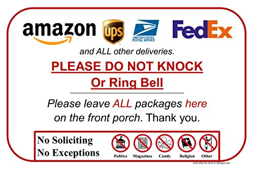 Leave Package Sign - Do Not Knock or Ring Bell (Do Not Knock or Ring Bell)