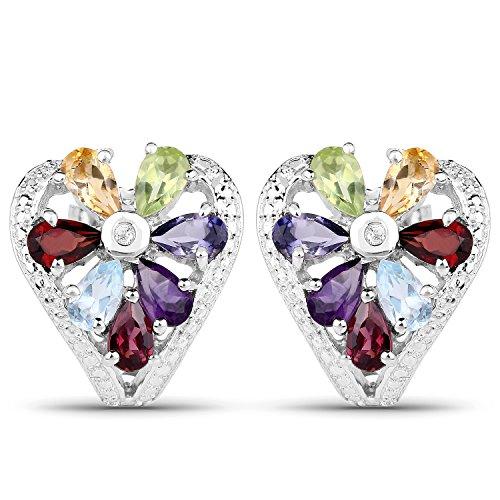 320-Carat-Genuine-Multi-Stone-925-Sterling-Silver-Earrings