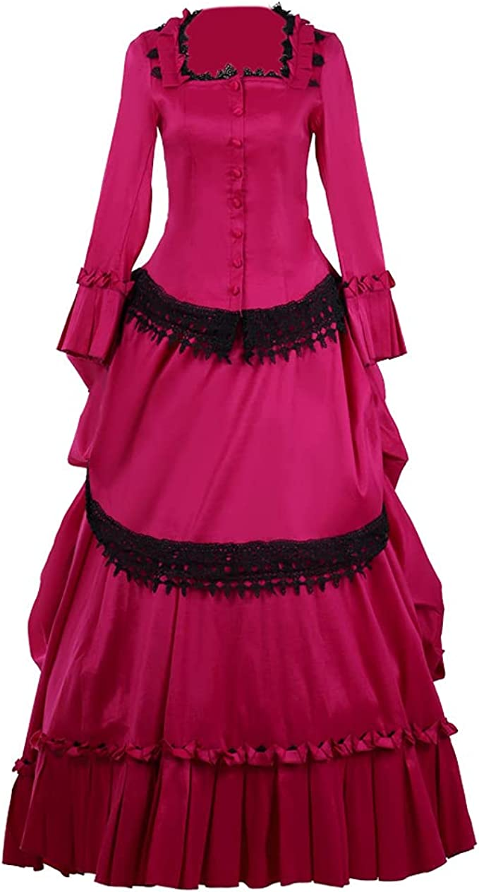 Victorian Dresses | Victorian Ballgowns | Victorian Clothing 1791s lady Medieval Queen Marie Antoinette Ball Gown Victorian Costume Dress  AT vintagedancer.com