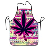 Cannabis Leaf Chef Aprons Lightweight BBQ Apron For Waitress Prepare For Family Woman Drill
