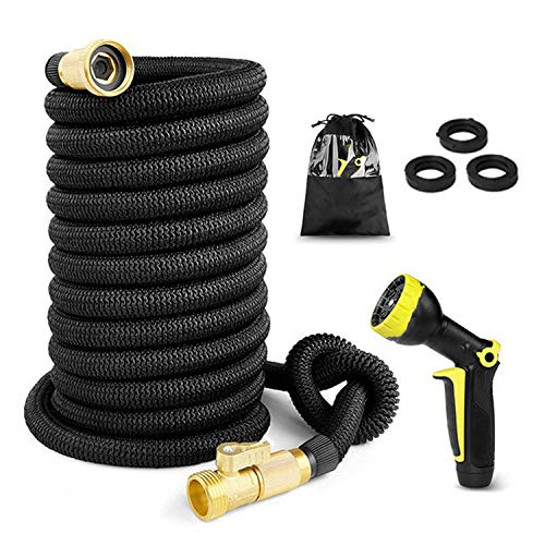 Beauty-inside Garden Water Hose 25-100FT Expandable Magic Flexible Garden Hoses for Car Hose Pipe Plastic Hoses to Watering with Spray Gun,50FT,Black