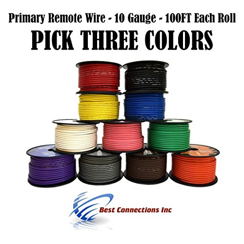 10 GA GAUGE 100 FT SPOOLS PRIMARY AUTO REMOTE POWER GROUND WIRE CABLE (3 - 10 Wire Gauge Power
