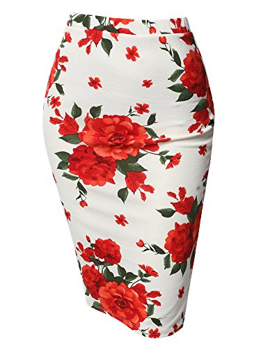 - Fitted Stretch Printed High Waist Midi Pencil Skirt White Green Size S