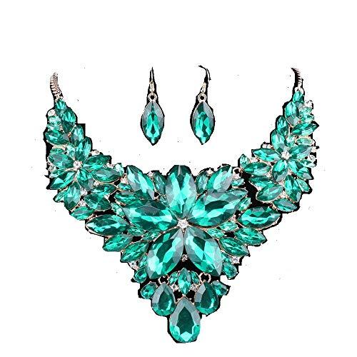 - Women Wedding Jewelry Set Crystal Flower Luxury Bridal Necklace Earring (Green)