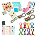 Quilling Paper Kits with Tools 40 colors Strips Board Mould Crimper Coach Comb DIY Set with 16 Different Patterns Making Drawings