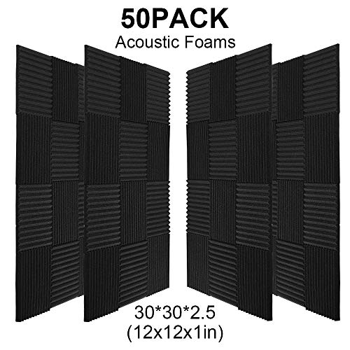 "guohongus 50 Pack Ice Black Acoustic Panels Studio Foam Wedges 1"" X 12"" X 12"" (50pack, Black)"