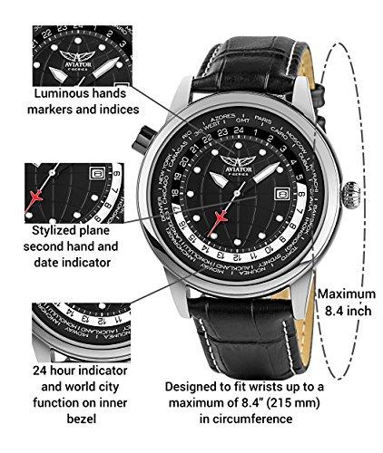 3424b6795 Aviator Analog Stainless Steel Mens Watch - Aviation Classic Quartz Flight  Aviators Data Watch - Genuine Black Leather Strap 3 Atm Pilot Wristwatch ...