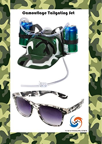 Glass Of Beer Costume - M & M Products Online Camouflage Drinking Helmet Tailgater Set! Comes with Green Camouflage Drinking Helmet & Gray Camouflage Sunglasses!