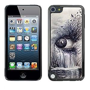 For Apple iPod Touch 5 Case , Nature Art Deep Meaning Cry Sad - Diseño Patrón Teléfono Caso Cubierta Case Bumper Duro Protección Case Cover Funda