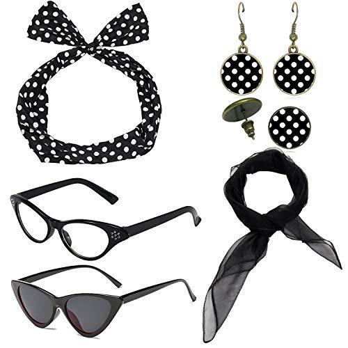 1950's Womens Costume Accessories - 50s Chiffon Scarf,Cat Eye Glasses,Bandana Tie Headband,Drop Dot Earrings (Black) - Cat Head Earrings