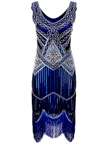 Vijiv Women's 1920s Gastby Inspired Sequined Embellished Fringed Flapper Dress Blue XL