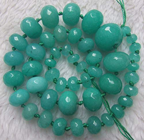 "FidgetFidget 5x8mm-15x20mm Green Jade Graduated Faceted Rondelle Loose Beads 18"""