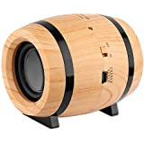 Bluetooth Wireless Speaker STOGA Mini Portable Speaker Small Wooden Beer Barrel, Cute Lovely Shape, High Stereo Bass Sound, TF Card, 3.5mm AUX for iPhone Android PC