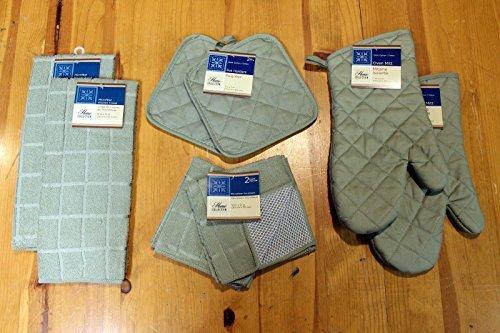 8-Piece Windowpane Olive Green Microfiber Kitchen Linen Set, Towels, Dish Cloths, Pot Holders, Oven Mitts