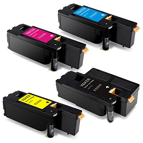 Vaker High Yield Replacement for Dell E525W Toner Cartridges (1 Black, 1 Cyan, 1 Yellow, 1 Magenta, 4-Pack)