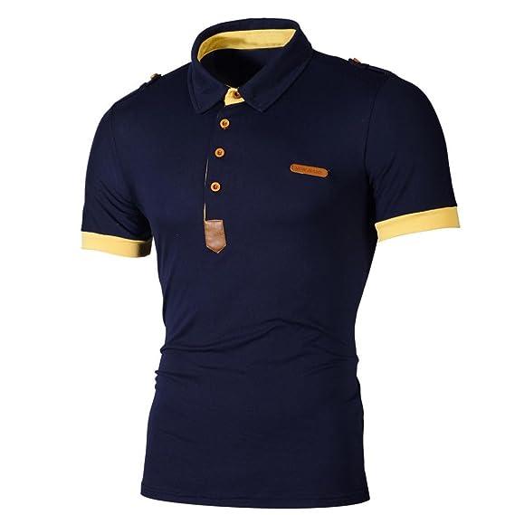 Camiseta para Hombre,RETUROM La Blusa Superior Delgada de la Manga de la Camiseta de la Manga Corta de los Hombres de la Personalidad de la Moda Superior: ...
