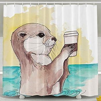 Sea Otter Oil Paint Fashion Shower Curtain Deluxe Waterproof Bath