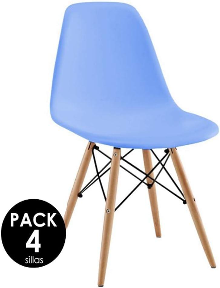 Sillatea Pack 4 sillas Tow Wood - Azul Claro