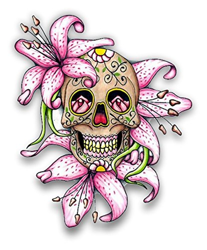 Lilly Flower Sugar Skull Car truck window laptop sticker decal by vinyl junkie graphics