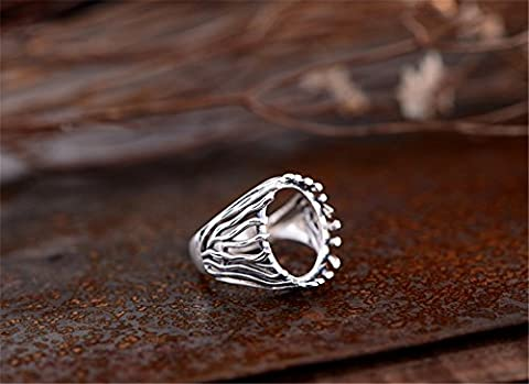 Ring Blank (12x16mm Oval Blank) Adjustable Thai Sterling Silver Ring Base Oval Cabochon Filigree Ring Setting (Adjustable Filigree Ring Blanks)