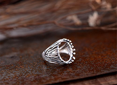 Ring Blank (12x16mm Oval Blank) Adjustable Thai Sterling Silver Ring Base Oval Cabochon Filigree Ring Setting R654B