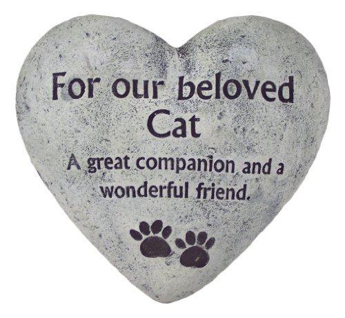 Gedenkstein, Motiv Katze Beloved Cat, Herzform