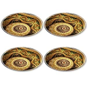 Abstract Brown Patterns Light Fractal Round Coaster (4 Piece) Set Fabric Rubber 5 Inch Size Luxlady Coaster Cup Mug Can Water Bottle Drink Coasters Stain Resistance Collector Kit Kitchen Table Top Desk