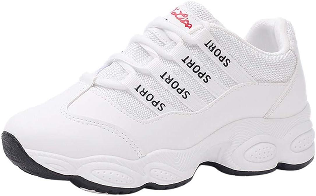 EHMOG 2019 Otoño e Invierno Moda de la Mujer Redondo Dedo del pie Transpirable Encaje Zapatillas Deportivas Zapatos de Correr: Amazon.es: Zapatos y complementos