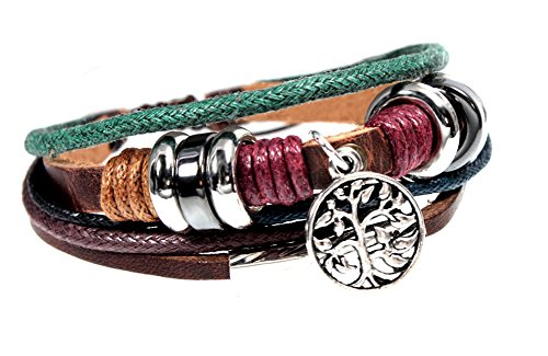 BSJ Stylish Tree of Life Charm Multi Strand Leather Zen Bracelet Fits 5.5 to 8 Inch by Beautiful Silver Jewelry