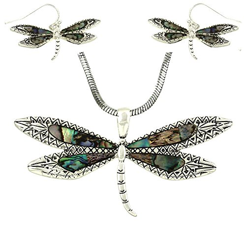 DianaL Boutique Silvertone Beautiful Dragonfly Pendant and Earrings Set with 18