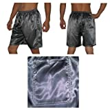 3 PACK: SILK COUTURE Mens Sleepwear - Silk Boxer Shorts / Pajama Lounge Shorts - Multicolor - Size: M-L