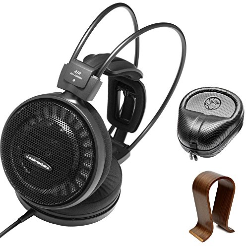 Electronics Consumer Slappa (Audio-Technica Audiophile Open-Air Headphones (AD500X) with Slappa HardBody PRO Full Sized Headphone Case Black & Universal Wood Headphone Stand)