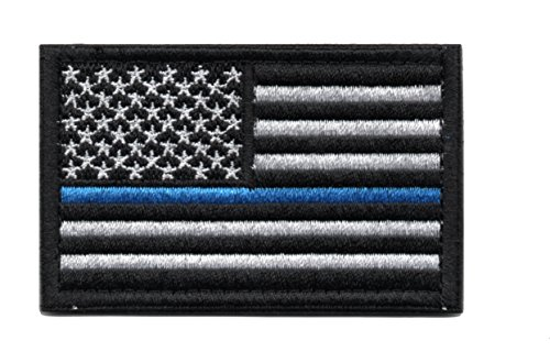Thin Blue Line Tactical American Flag Patch Military Uniform Emblem with Hook and Loop (Black & White)