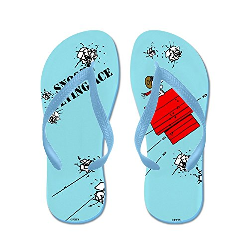Cafepress Snoopy De Vliegende Aas - Flip Flops, Grappige String Sandalen, Strand Sandalen Caribbean Blue