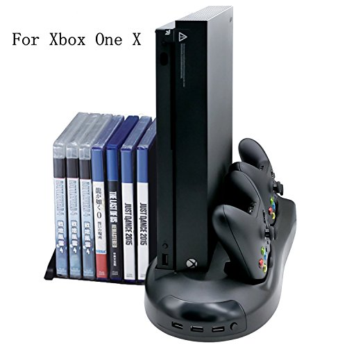 n Vertical Stand with Cooling Fan Game Discs Orainzer Mounts & Dualshock Charger For For Xbox One X Console Xbox One X Controller Charger Dock (Original Dual Slot Desktop)