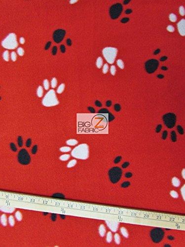 RED WHITE BLACK ANIMAL PAW PRINT POLAR FLEECE FABRIC 60