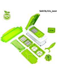 Get (Latest Model) Vegetable and Fruit Nicer slicer & Dicer Multipurpose cutter with collecting container (12pcs) deal