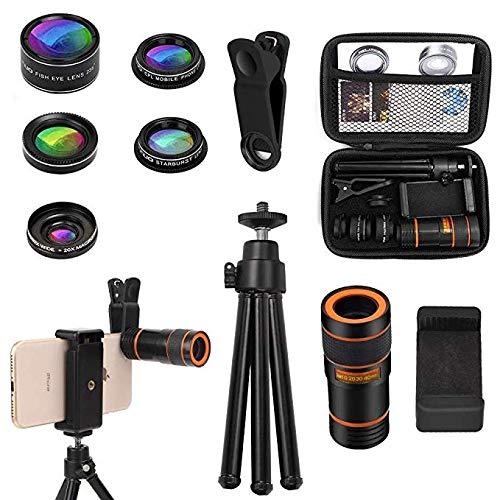 Cell Phone Camera Lens Kit OUNUO 6 in 1 Kit 12X Zoom Telephoto Lens 235° Fisheye Lens 0.62X Wide Angle Lens 20X Macro Lens Professional CPL Lens Starburst Lens Phone Holder and Tripod