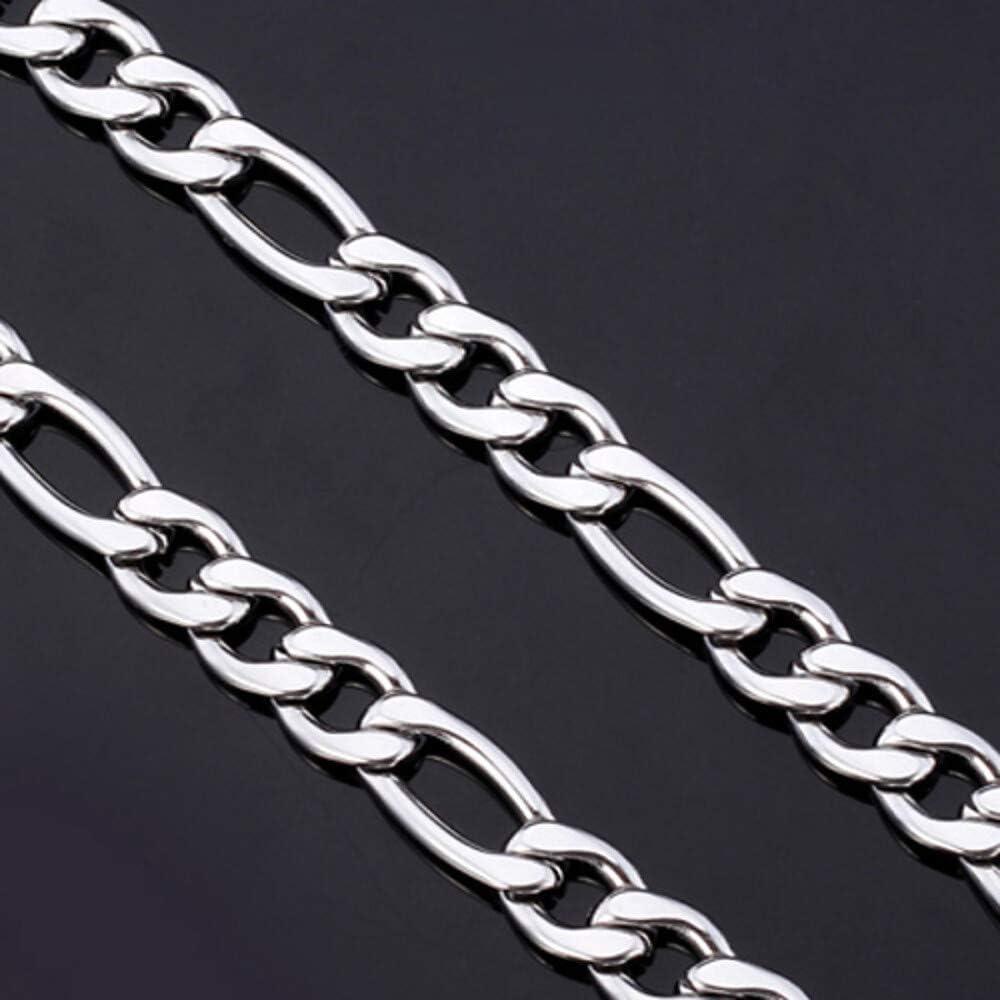 CL-Hombre Cadena Figaro Fornido Collares de Cadena Acero Inoxidable Titanio Acero Damas Plata Gargantillas Joyas