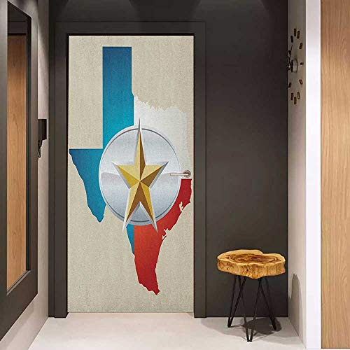 Toilet Door Sticker Texas Star Cowboy Belt Buckle Star Design with Texas Map Southwestern Parts of America Glass Film for Home Office W31 x H79 Multicolor