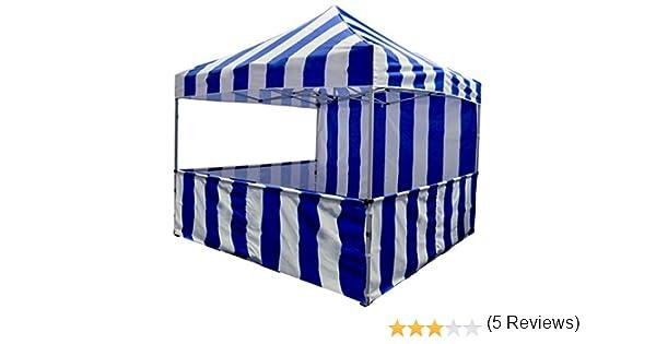 Impacto toldo 10 x 10 rayas toldo tienda impacto marquesinas cabina del Vendedor de carnaval palomitas y algodón Candy, color rojo: Amazon.es: Jardín